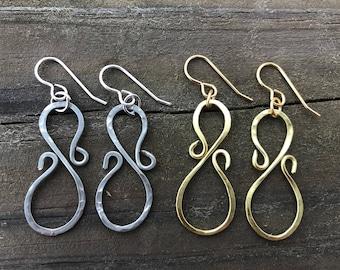 Silver or Gold Swirl earrings