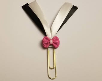 Black and White Ribbon With Pink Bow Decorated Planner Paperclip-Paperclip Planner Accessory-Black, Pink and White Accessory-Decorated Clip