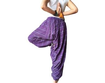 Linen Harem Pants Purple Baggy Trousers Casual Comfortable Cropped Yoga Pants aladdin pants Green Hippie Pants unisex shalwar ottoman Gypsy