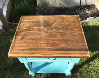 Vintage Cottage / Beach Ocean Blue Two-Tone End Table with Drawer