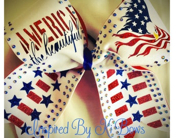 America 4th of July Rhinestone Patriotic Independence Day Cheer Bow