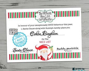 Personalised Christmas Certificate From Santa Clause - Father Christmas - Nice List
