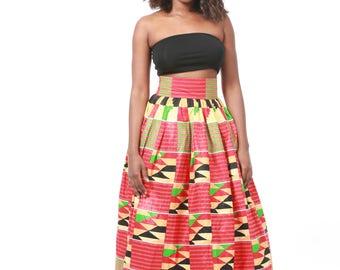 Kente high-waist Maxi Skirt (Size M-L)
