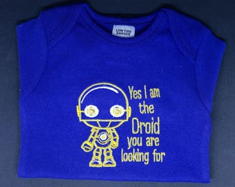 Baby Droid Embroidered Onesie