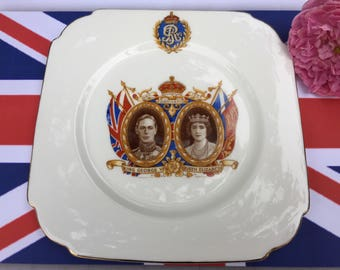 Coronation side plate King George VI & Queen Elizabeth, the Royal Family, souvenir memorabilia