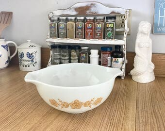 Vintage Butterfly Gold  Pyrex Cinderella Mixing Bowl