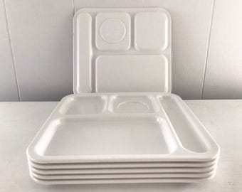 Vintage Melamine white Texas Ware school lunch trays circa 1970