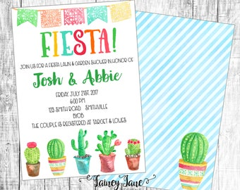 Fiesta Couples Shower Invitation, Couples Shower Invitation, Party Invitation, Fiesta Shower, Cactus Invitation, Garden Shower, Let's Fiesta