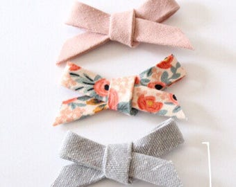 SALE Amelia Set of 3, Linen Fabric Hand Tied Bows