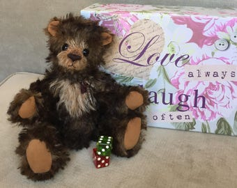 Calvin - artist made, hand-made, mohair teddy bear, collectible, one-of-a-kind, plush, stuffed animal
