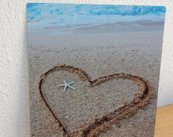 8 x 10 Metal Print. My Photo of a Heart with a Star Fish Sea Shell. Gift for mom, grandma on Mother's Day. Give her a heart, love you!