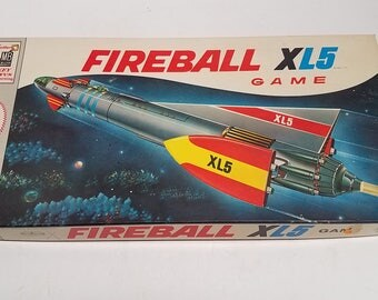 Vintage Milton Bradley Co. 1964 board game  FIREBALL XL5 , Original, Clean Box, clean Board & Playing pieces.  Sci Fi, Spaceship and aliens
