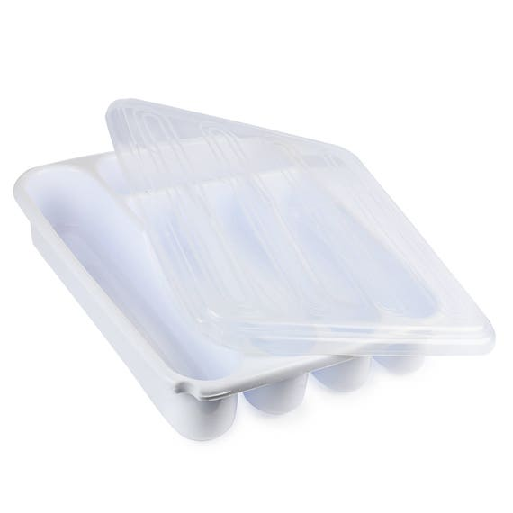 Flatware plastic tray with lid kitchen cutlery and utensil for Cutlery storage with lid