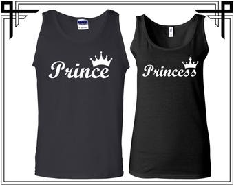 Prince Princess With Crown Couple Tank Top Party Tanks Couple Tops Love Anniversary Love Tanks Best Selling Tank Top Gifts For Him And Her