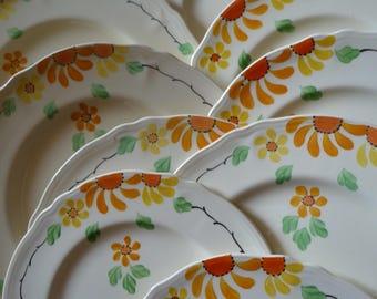 Vintage China dinnerware set/ Part service/art deco china /1930s english fine china/12 piece tea service/china plates/hand painted