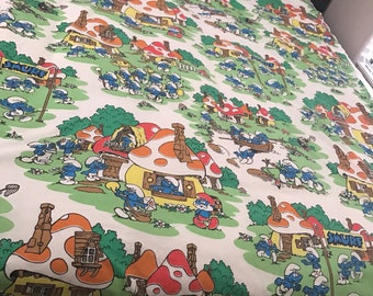 Vintage smurf twin flat sheet
