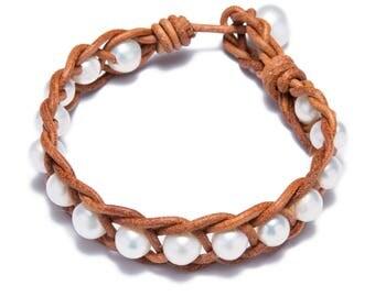 leather pearl bracelet pearl leather bracelet freshwater pearl jewelry vintage pearl bracelet bridesmaid bracelet wedding bracelet