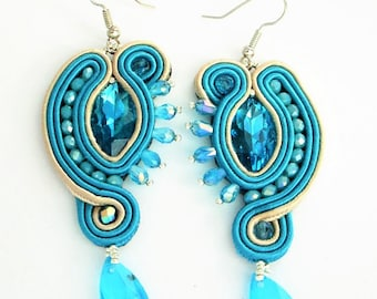 soutache earrings aqua