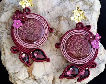 soutache earrings bordeaux  jewels, Soutache Jewerly, fashion, Soutache Jewels, accessories, cabochon, crystals, beads, handmade from Italy