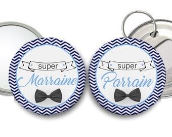 Un miroir Ma Super Marraine et un décapsuleur Mon Super Parrain thème Moustache