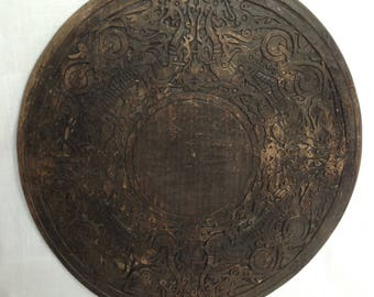 Vintage Oriental Hand Carved Wood Wall Hanging