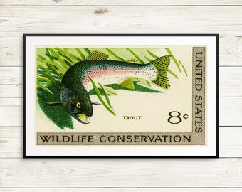 Art print: trout, wildlife conservation, conservation efforts, fish art, fishing art, fish gifts, fishing gifts, rainbow trout, poster art