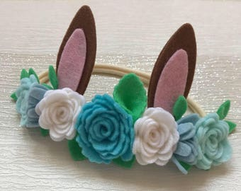 Bunny ears flower crown