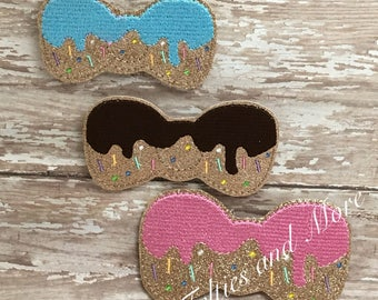 Donut With Icing And Sprinkles Feltie / Set of 2 Small, Medium, or Large Embroidered Cut Felties / Embellishment/ Donut Feltie