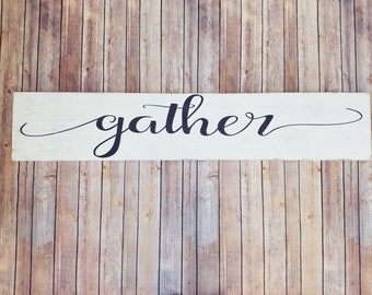 Gather Sign, Gather Wood Sign, Large Gather Sign, Gather Wall Decor, Gather Sign Large, Wooden Gather Sign, Dining Room Decor, Rustic Signs