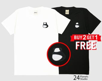 Cute Panda Backside Embroidered T-Shirt by 24PlanetsStudio