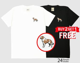 St Bernard Dog Embroidered T-Shirt by 24PlanetsStudio