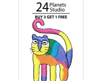 Rainbow Cute Cat Iron on Patch by 24PlanetsStudio