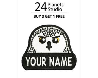 """Snowy Owl """"Your Name"""" Iron on Patch by 24PlanetsStudio Your Text Custom Made DIY"""
