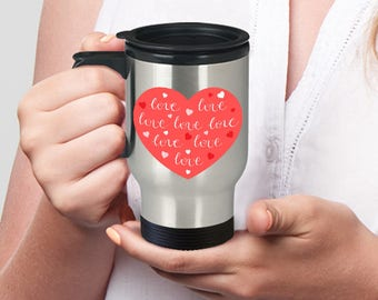 RED HEART LOVE Sweet Happy Anniversary Engagement Valentine's Day Birthday I love you Insulated Stainless Steel Travel Coffee Mug With Lid