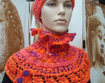 cowl and hand knitted headband
