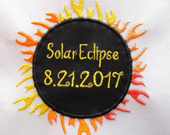 Solar Eclipse Iron On Patch, Total Solar Eclipse, Eclipse 2017, Embroidery Patch, Eclipse Patch, Solar Eclipse Appliqué, Applique Patch