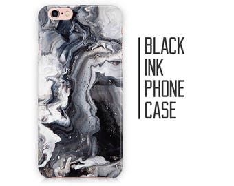 Black Ink Marble Phone Case for iPhone X 8 Plus 7 6 6s 5 5s 5c SE + Samsung S6 S7 S8 Black and White
