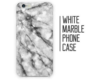 White Marble Phone Case for iPhone X 8 Plus 7 6 6s 5 5s 5c SE + Samsung S6 S7 S8+ Black and White