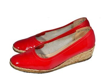 Vintage Ferragamo Red Patent Leather Wedge Espradilles