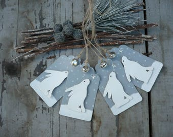 4 Christmas gift tags-hare gift tags-winter hare-hand made gift tags