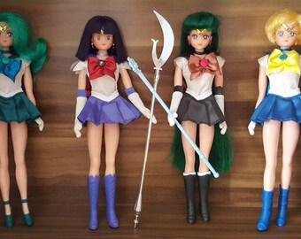 Sailor Moon Outer Senshi Scouts Figure Doll - Sailor Saturn , Sailor Pluto , Sailor Neptune & Sailor Uranus - Manga / Anime Collection Toy