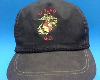 Vintage El Toro Golf Cource Trucker  Leather Strapback Hat Adjustable 1980s
