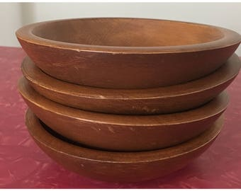 wooden salad bowls mid century rustic dining 1970s