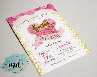 Minnie Gold and Pink Printable Invitation