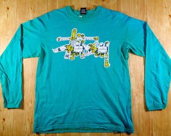 Rare! Vintage STUSSY Increase The Peace Skateboard Sweatshirt