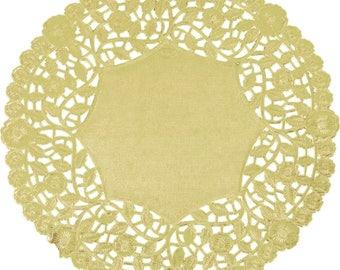 """8"""" 100PCS Gold Foil Lace Doily, Paper Doilies, Doily, Lace Doily, Lace Doilies, Foil Doilies, Gold Lace Doily, Gold Foil Doilies, Foil, Gold"""