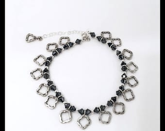 Ethnic Sterling Silver Charms with Black Swarovski beads Anklet Bracelet, Sterling Silver Himalayan Charms with Swarovski Beads anklet