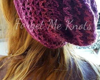Unforgettable Purple Toned Crochet Slouchy Hat