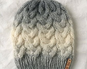 Braided cable knit beanie knitted beanie slouchy lightweight toboggan winter accessory knit hat ready to ship