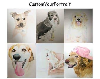 custom portrait from photo, portrait custom watercolor portrait ideas, personalized wall art, personalized portrait, memorial pet, memorial